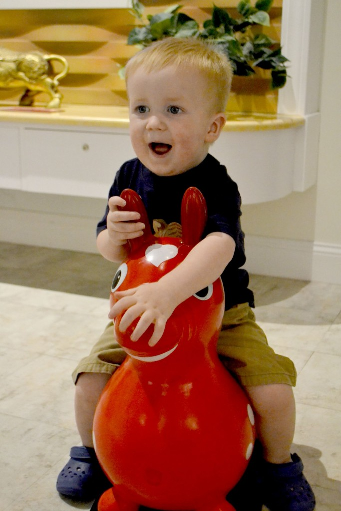 Happiness is a red plastic horse.