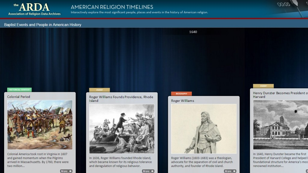 baptist history timeline from the arda