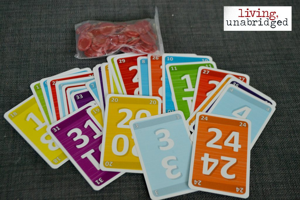 cards and chips for no thanks game